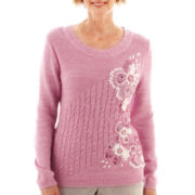 Alfred Dunner® Glaicer Lake Long-Sleeve Floral Cable Sweater - Petite