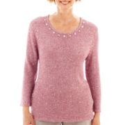 Alfred Dunner® Glacier Lake 3/4-Sleeve Textured Sequin Sweater - Petite