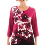 Alfred Dunner® Sorrento Embellished Border Knit Top - Petite