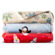 JCPenney Home™ Velvet Plush Holiday Print Throw