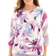 Alfred Dunner® A Fine Romance 3/4-Sleeve Floral Print Top