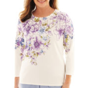Alfred Dunner® A Fine Romance 3/4-Sleeve Floral Yoke Top