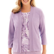 Alfred Dunner® A Fine Romance 3/4-Sleeve Paisley Layered Top
