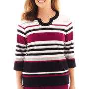 Alfred Dunner® Sorrento 3/4-Sleeve Striped Knit Top