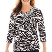 Alfred Dunner® Sorrento 3/4-Sleeve Zebra Print Top