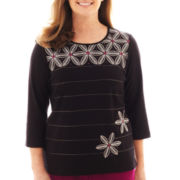 Alfred Dunner® Sorrento 3/4-Sleeve Embroidered Floral Striped Knit Top