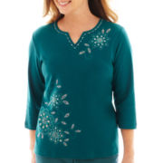 Alfred Dunner® Lake Ontario 3/4-Sleeve Embroidered Floral Top