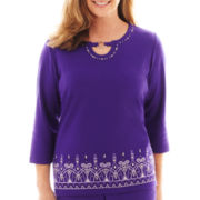Alfred Dunner® Lake Ontario 3/4-Sleeve Embroidered Border Knit Top