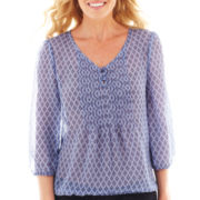 St. John's Bay® 3/4-Sleeve Chiffon Peasant Top