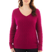 St. John's Bay® Long-Sleeve V-Neck Cable Sweater - Plus