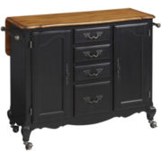 Beamont Drop-Leaf Rolling Kitchen Cart with Towel Rack