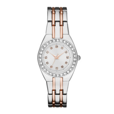 jcpenney.com | Womens Crystal-Accent Silver-Tone Dial Two-Tone Bracelet Watch