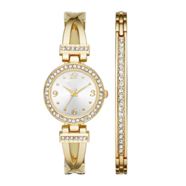 jcpenney.com | Womens Crystal T-Bar Glitz Watch and Bracelet Set