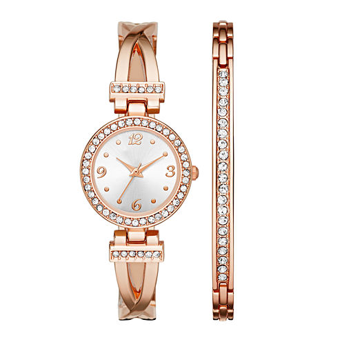 Womens Crystal T-Bar Glitz Watch and Bracelet Set