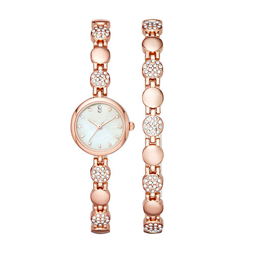 Womens Crystal Round Glitz Watch and Bracelet Set