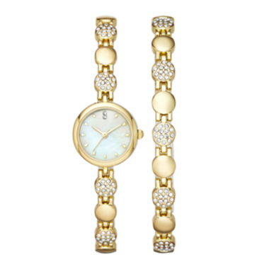 jcpenney.com | Womens Crystal Round Glitz Watch and Bracelet Set