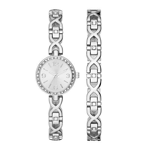 Womens Crystal X Glitz Watch and Bracelet Set