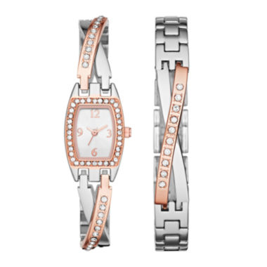 jcpenney.com | Womens Crystal Criss-Cross Glitz Watch and Bracelet Set