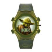 Star Wars® Yoda Kids Green Print Strap LCD Digital Watch