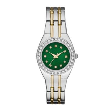jcpenney.com | Womens Crystal-Accent Green Dial Two-Tone Bracelet Watch