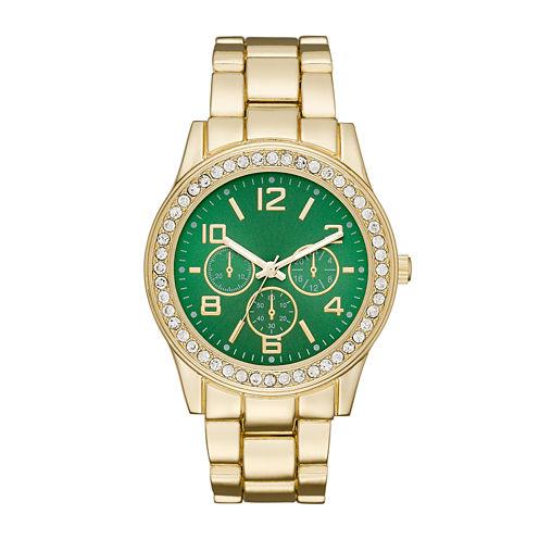 Womens Crystal-Accent Green Dial Boyfriend Bracelet Watch