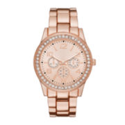 Womens Crystal-Accent Rose-Tone Dial Boyfriend Bracelet Watch