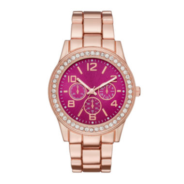 jcpenney.com | Womens Crystal-Accent Red Dial Boyfriend Bracelet Watch