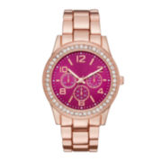 Womens Crystal-Accent Red Dial Boyfriend Bracelet Watch