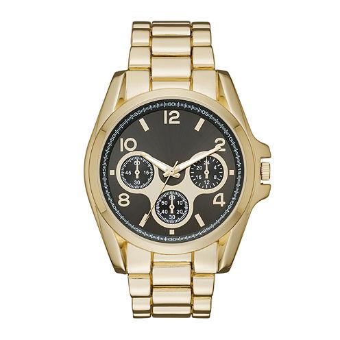 Womens Taupe Dial Gold-Tone Boyfriend Bracelet Watch