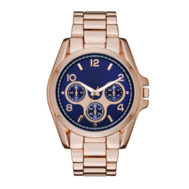 jcpenney.com | Womens Blue Dial Rose-Tone Boyfriend Bracelet Watch