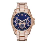Womens Blue Dial Rose-Tone Boyfriend Bracelet Watch