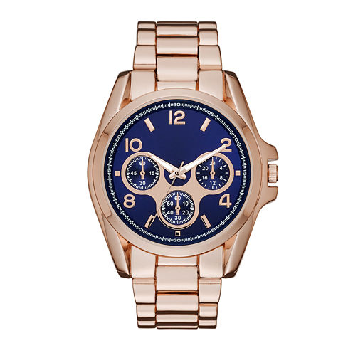 Womens Blue Dial Rose-Tone Boyfriend Bracelet Watch