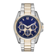 Womens Blue Dial Two-Tone Boyfriend Bracelet Watch