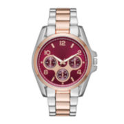 Womens Red Dial Two-Tone Boyfriend Bracelet Watch