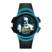 Star Wars® Stormtrooper Kids Black and Teal Print Strap LCD Digital Watch