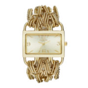 Geneva Womens Rectangular Gold-Tone Chain Bracelet Watch