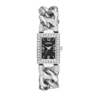 jcpenney.com | Geneva Womens Crystal-Accent Rectangular Silver-Tone Chain-Link Bracelet Watch