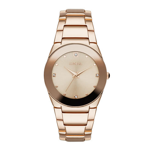 Geneva Womens Crystal-Accent Rose-Tone Bracelet Watch