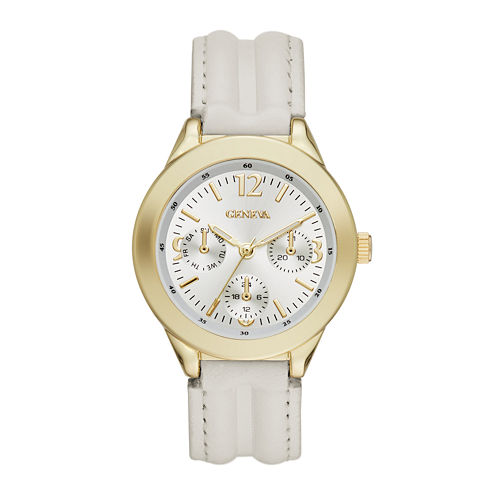 Geneva Womens Gold-Tone Bezel Cream Strap Watch