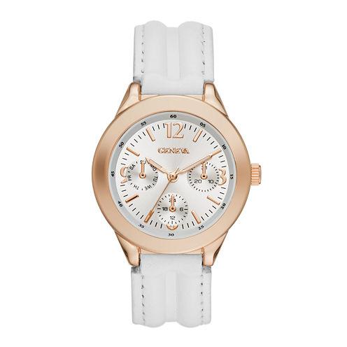 Geneva Womens Rose-Tone Bezel White Strap Watch
