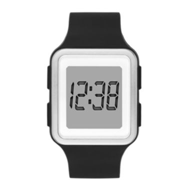 jcpenney.com | Womens Rectangular Black Silicone Strap Digital Watch