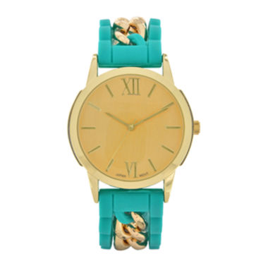 jcpenney.com | Womens Green Silicone and Gold-Tone Strap Watch