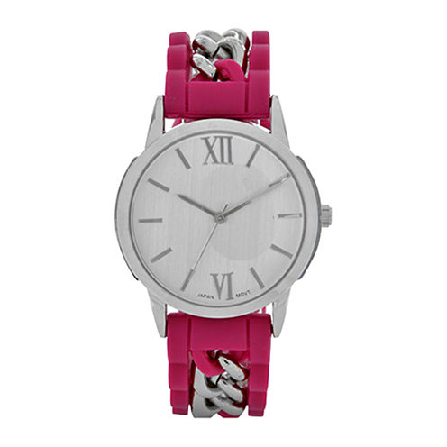 Womens Pink Silicone and Silver-Tone Strap Watch