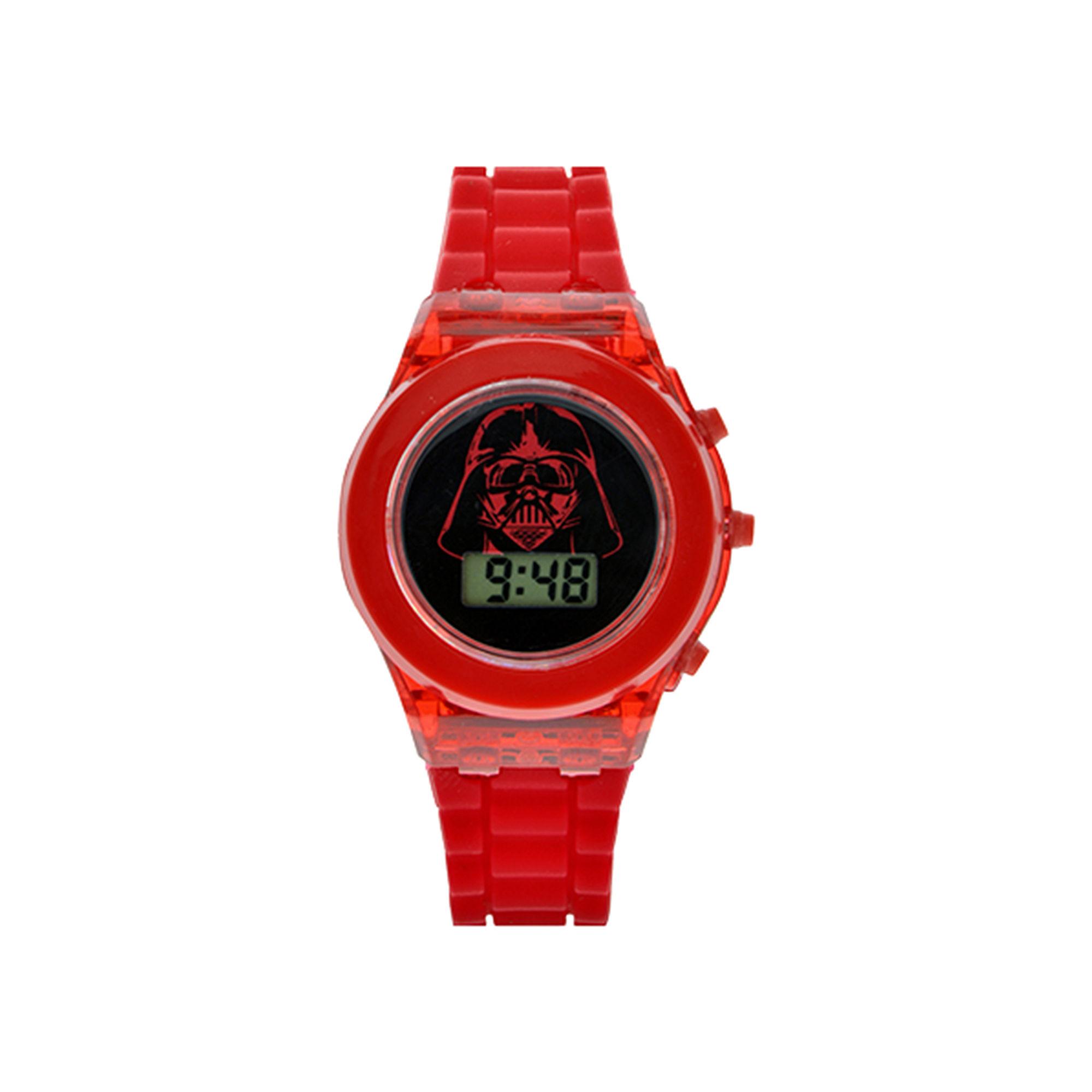 Star Wars Darth Vader Kids Red Silicone Strap Flashing LCD Digital Watch