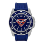 Superman Mens Blue Silicone Strap Watch