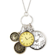 Decree® Multi Clock Two-Tone Charm Necklace