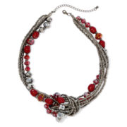 Mixit™ Red Bead Hematite Twist Knot-Style Necklace