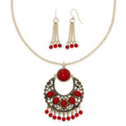 Mixit™ Red Bead Gold-Tone Shaky Earring and Necklace Set