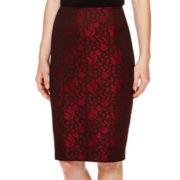 Black Label by Evan-Picone Jacquard Pencil Skirt