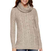 St. John's Bay® Long-Sleeve Marled Tunic Sweater
